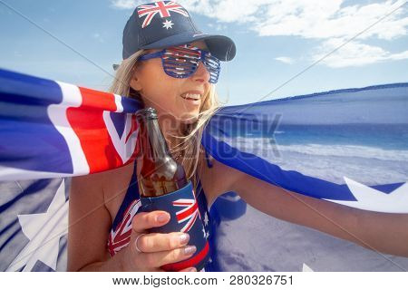 Celebrating Australia Day, Australian Fan Or Sports Supprter Holding Proudly The Australian Flag And
