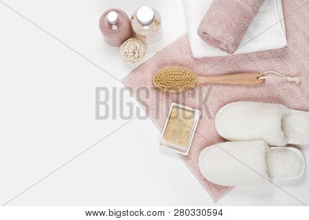 Beauty And Spa Products On White Background With Copy Space