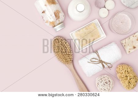 Natural Spa Skincare Products On Pink Background With Copy Space