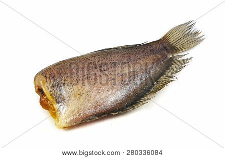 Sun Dried Fish / Trichogaster Pectoralis Fish Dry With Spawn Isolated On White Background