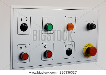 Control Panel Of Industrial Equipment With Pushbuttons.