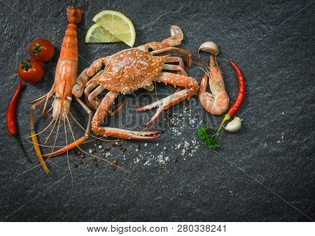 Shellfish Seafood Plate With Shrimps  Prawns Crab Ocean Gourmet Dinner  Seafood Cooked With Herbs An