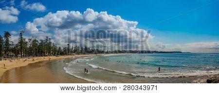 Sydney - April 18, 2017: Sydney Northern Beaches Main Manly Beach Facing Pacific Ocean On A Sunny Su