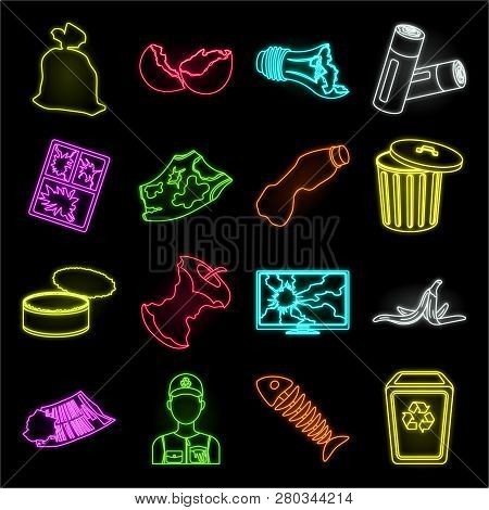 Garbage And Waste Neon Icons In Set Collection For Design. Cleaning Garbage Vector Symbol Stock Web