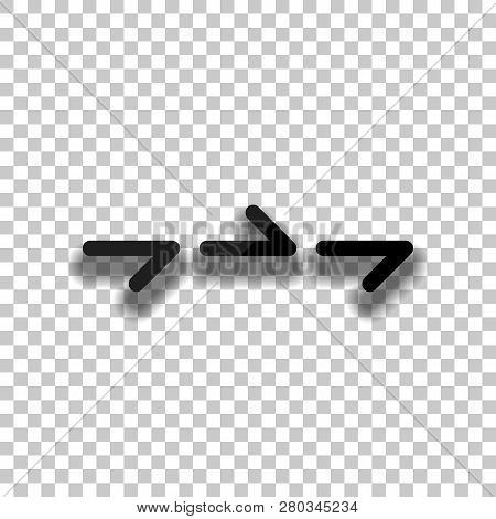 Few Arrows, Same Direction. Linear, Thin Outline. Black Glass Icon With Soft Shadow On Transparent B