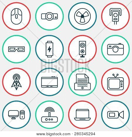 Gadget Icons Set With Battery, Photographing, Tablet And Other Spectacles Elements. Isolated Vector