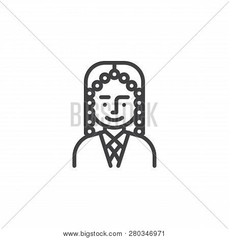 Man Judge Avatar Character Line Icon. Linear Style Sign For Mobile Concept And Web Design. Judge Man