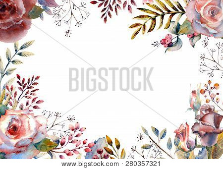 Set Of Flower Branches. Pink Rose Flower, Green Leaves, Red . Wedding Concept With Flowers. Floral P