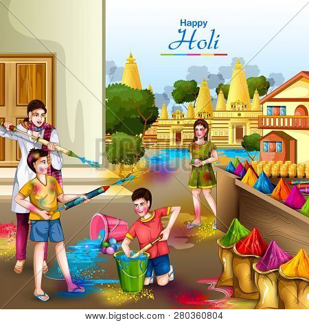 Vector Illustration Of Indian People Playing Colorful Happy Hoil Background For Festival Of Colors I
