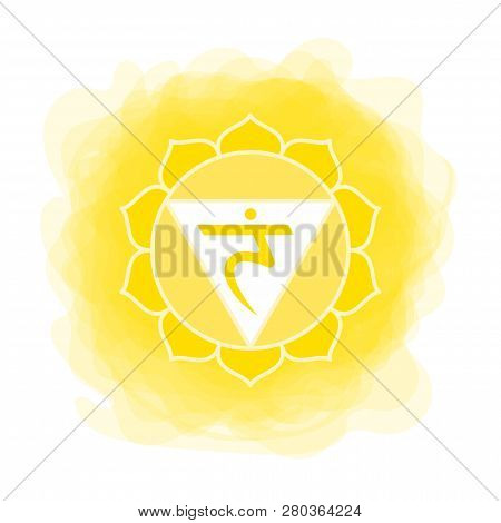 Manipura Icon. The Third Sun Chakra. Vector Yellow Smoky Circle. Line Symbol. Sacral Sign. Meditatio