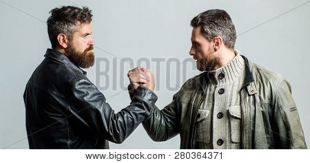 Friendship Of Brutal Guys. Leadership Concept. True Friendship Of Mature Friends. Male Friendship. B