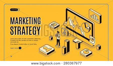 Digital Marketing Agency Isometric Vector Web Banner. Internet Entrepreneur Planning Business Strate
