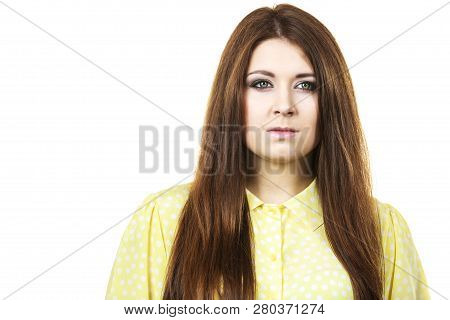 Teenage Beauty Concept. Closeup Portrait Of Young Teenager Woman Having Neutral Face Expression.