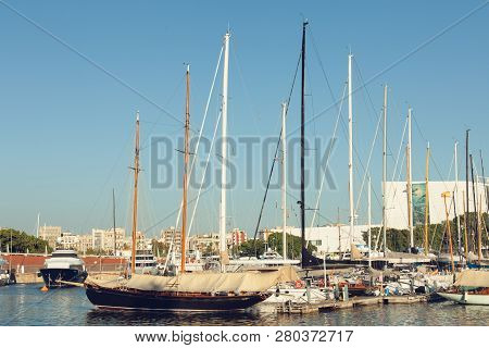 Barcelona, Spain - September 23, 2018: This Port One Of The Old Ports Of Barcelona