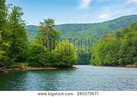 Morske Oko Lake Among Primeval Beech Forest. Beautiful Vihorlat Landscape Of Slovakia In Late Summer
