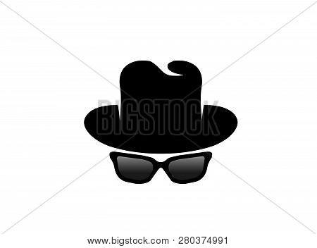 Inspector Hat And Glasses Logo Design Illustration