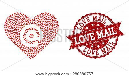 Mosaic Dating Heart Address Formed With Red Love Hearts, And Isolated Grunge Stamp. Composition For