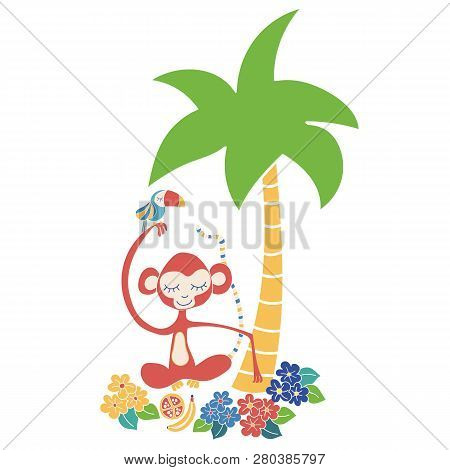 Monkey And Toucan Tropical Vector Illustration. Cute Jungle Animals Sitting Under A Palm Tree. Use F