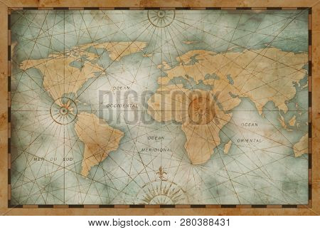 vintage color world map illustration based on image furnished by NASA
