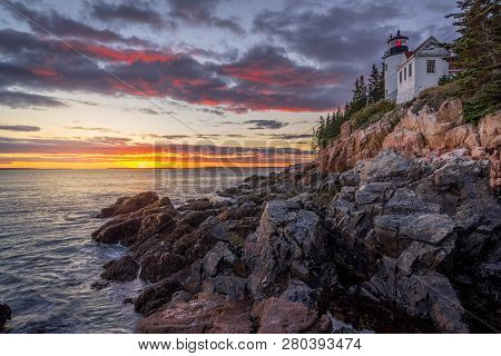 Bass Harbor Head Lighthouse At Sunset - Acadia National Park Maine United States