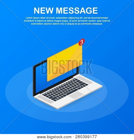 Email Notification Concept. New Email On The Laptop Screen. Vector Stock Illustration.