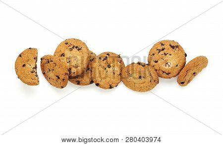 Cookies With Chocolate Chips Isolated On White