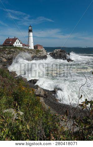 Crashing Waves At Portland Head Lighthouse - Vertical - Cape Elizabeth, Maine, Usa