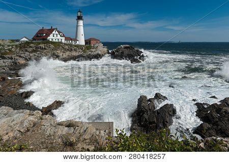 Crashing Waves At Portland Head Lighthouse - Horizontal - Cape Elizabeth, Maine, Usa