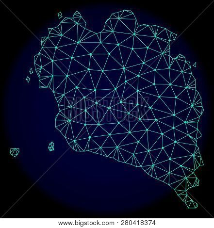 Polygonal Vector Mesh Map Of Ko Pha Ngan. Connected Lines, Triangles And Points Forms Abstract Map O