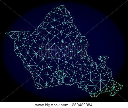 Polygonal Vector Mesh Map Of Oahu Island. Connected Lines, Triangles And Points Forms Abstract Map O