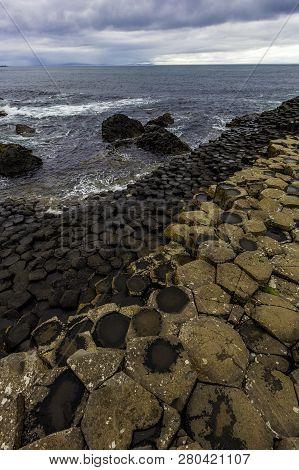 Hexagonal Basalt Structures At Giants Causeway In Northern Ireland
