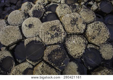 Hexagonal Basalt Formations At Giants Causeway In Northern Ireland