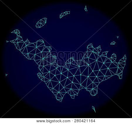 Polygonal Vector Mesh Map Of Saint Barthelemy. Connected Lines, Triangles And Points Forms Abstract