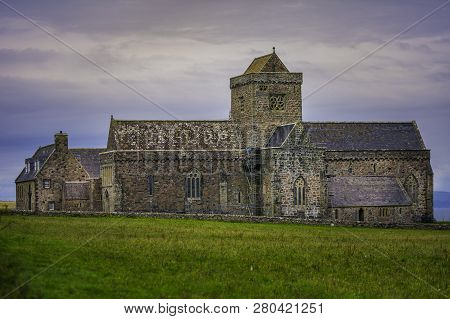 Iona Abbey With Restoration Work From A Distance
