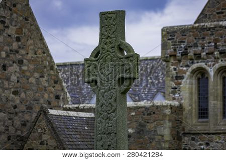 Saint Martins High Cross In Front Of Historic Iona Abbey