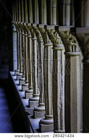 Detail From Columns In Iona Abbey Courtyard