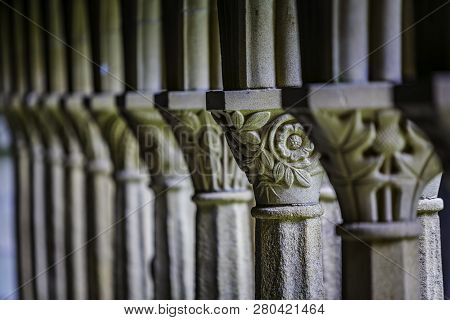 Floral Detail From Column In Iona Abbey Courtyard