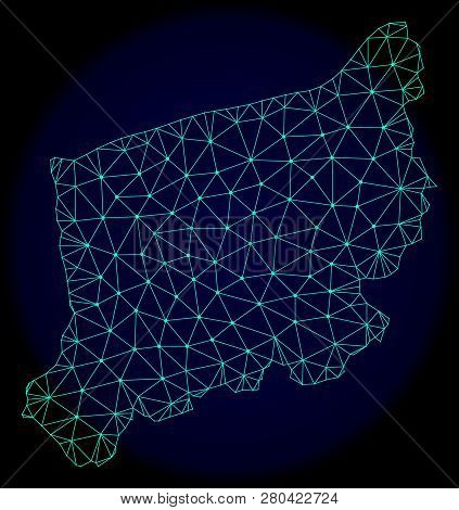 Polygonal Vector Mesh Map Of West Pomerania Province. Connected Lines, Triangles And Points Forms Ab