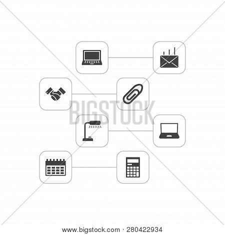 Set Of 8 Bureau Icons Set. Collection Of Almanac, Reading Lamp, Counter And Other Elements.
