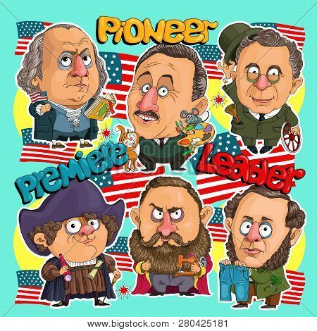 Sticker Comics American Leaders. First President, Pioneer Of America, Inventor Of Jeans, Sewing Mach