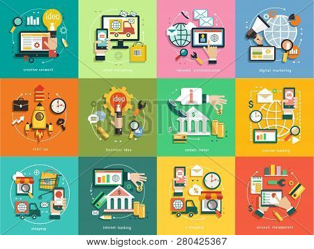 Infographics Background Business. Business Concept. Set Icons, Email Marketing, Network Communicatio