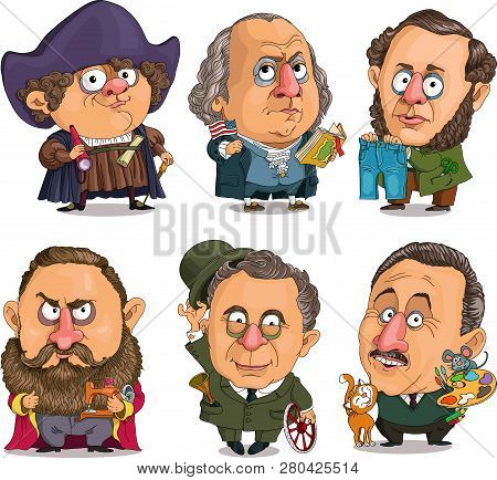 Comic Caricature. Vector. A Set Of Famous American Historical Celebrities. First President Of The Un