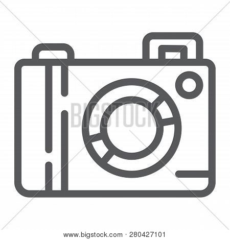 Camera Line Icon, Lens And Photo, Photocamera Sign, Vector Graphics, A Linear Pattern On A White Bac