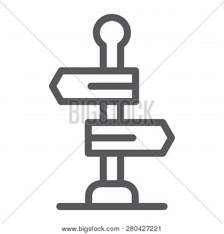 Signpost Line Icon, Way And Direction, Guidepost Sign, Vector Graphics, A Linear Pattern On A White