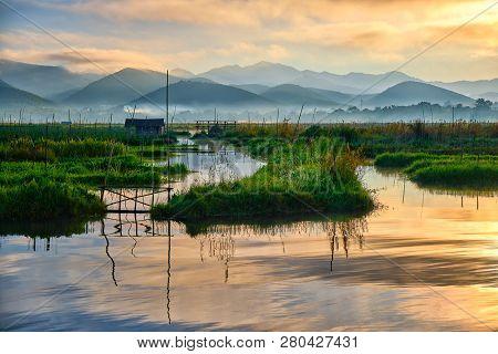 The Beautiful Inle Lake In Myanmar At Sunrise