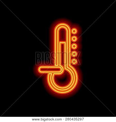 Thermometer, Cold. Subzero Temperature. Orange Neon Style On Black Background. Light Icon