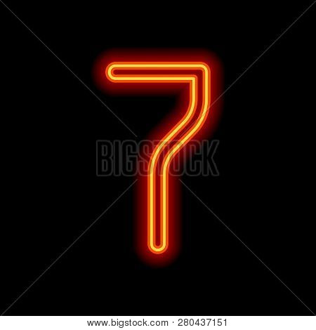 Number 7, Numeral, Seventh. Orange Neon Style On Black Background. Light Icon