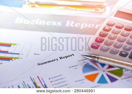 Business Report Chart Preparing Graphs Calculator Concept / Summary Report In Statistics Circle Pie