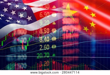 Trade War Economy Usa America And China Flag Candlestick Graph Stock Market Exchange Analysis / Indi