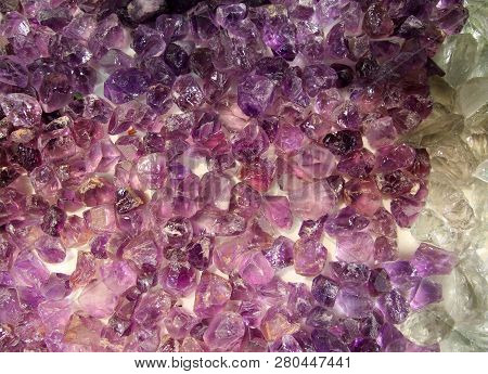 Many Amethyst Crystals As A Natural Background